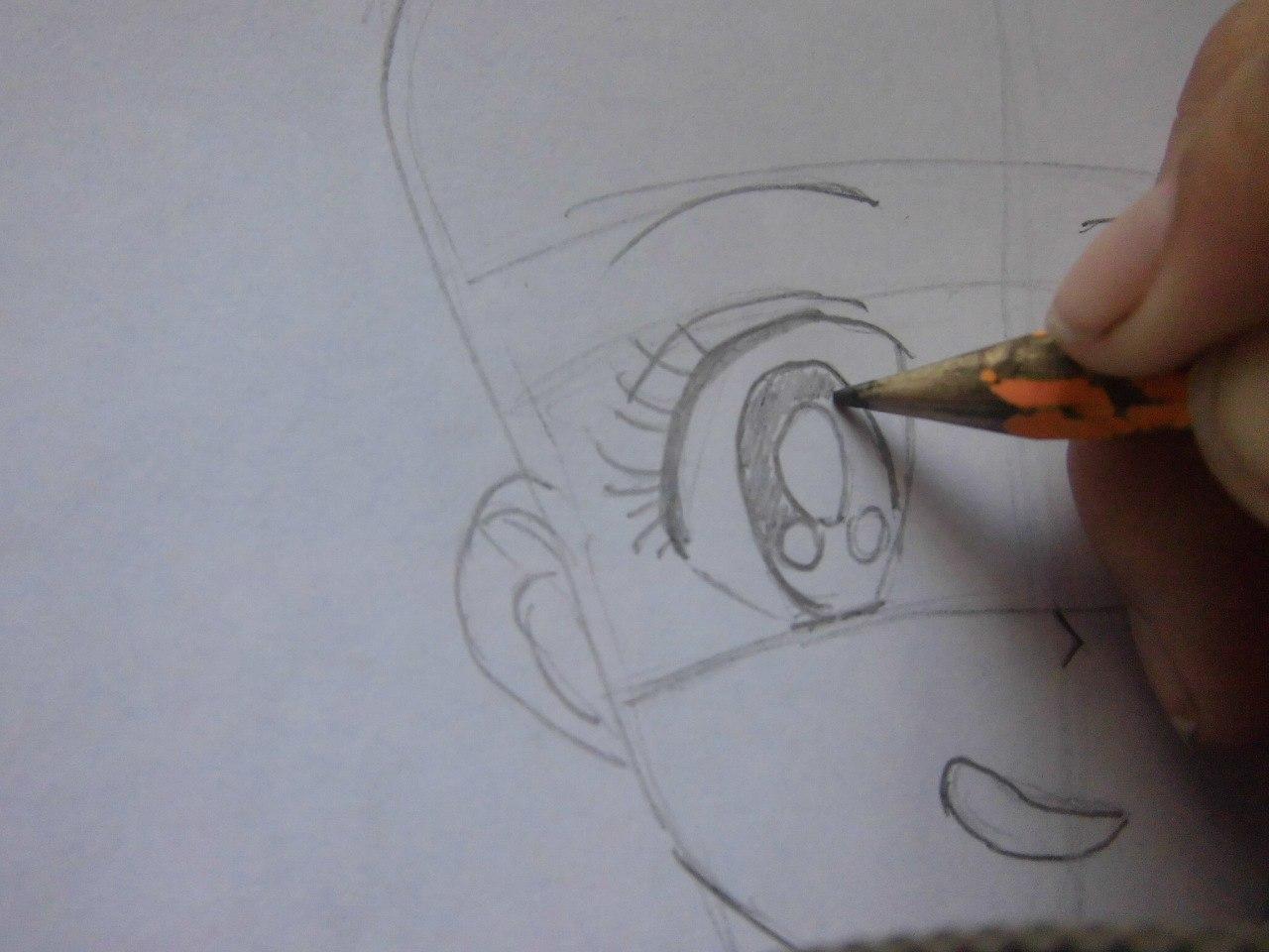 Рисуем красивую аниме девушку простым - шаг 4