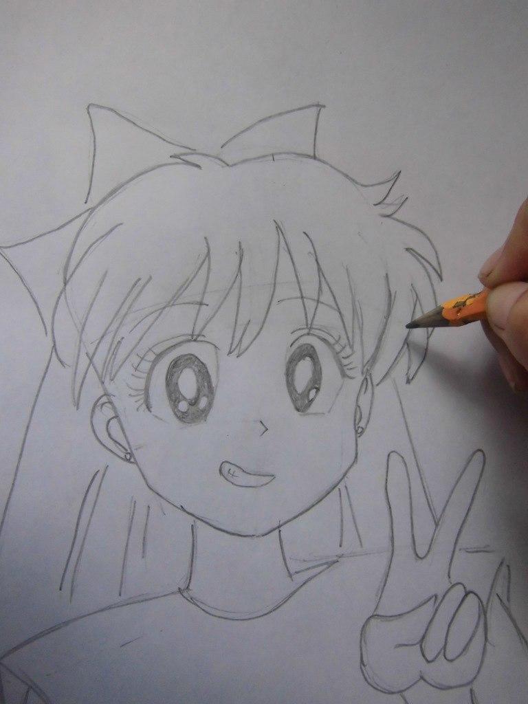 Рисуем красивую аниме девушку простым - шаг 6