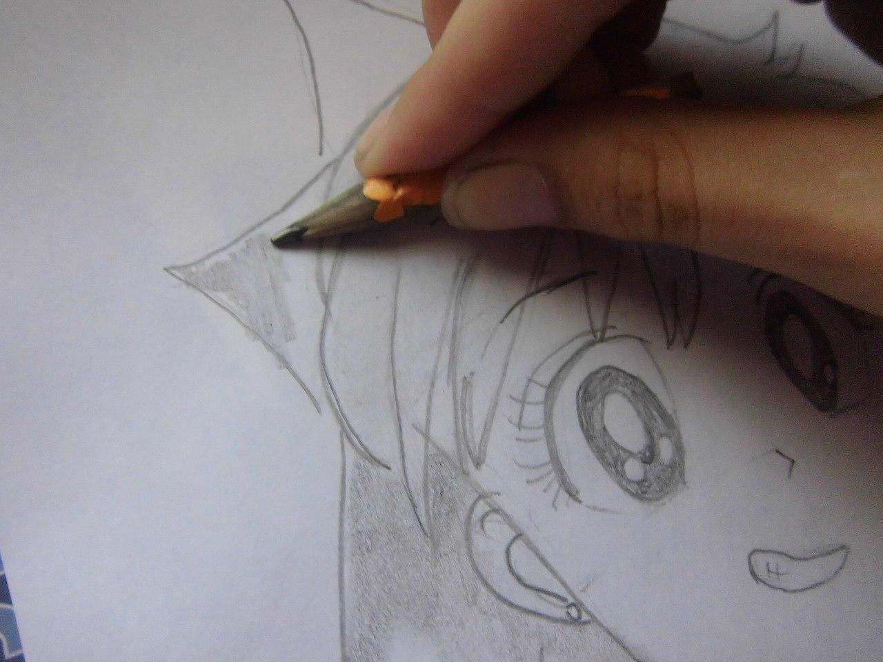 Рисуем красивую аниме девушку простым - шаг 9
