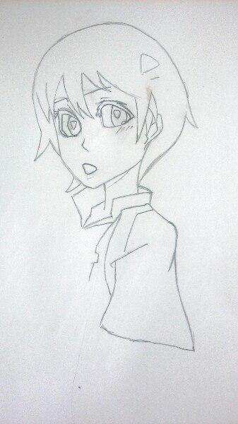 Как нарисовать аниме девушку официантку цветными карандашами - шаг 3