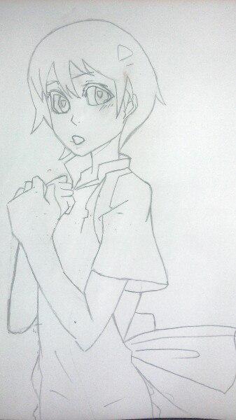 Как нарисовать аниме девушку официантку цветными карандашами - шаг 4