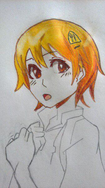 Как нарисовать аниме девушку официантку цветными карандашами - шаг 6