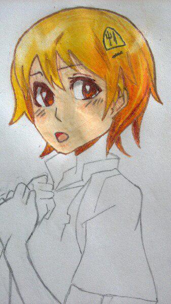 Как нарисовать аниме девушку официантку цветными карандашами - шаг 7