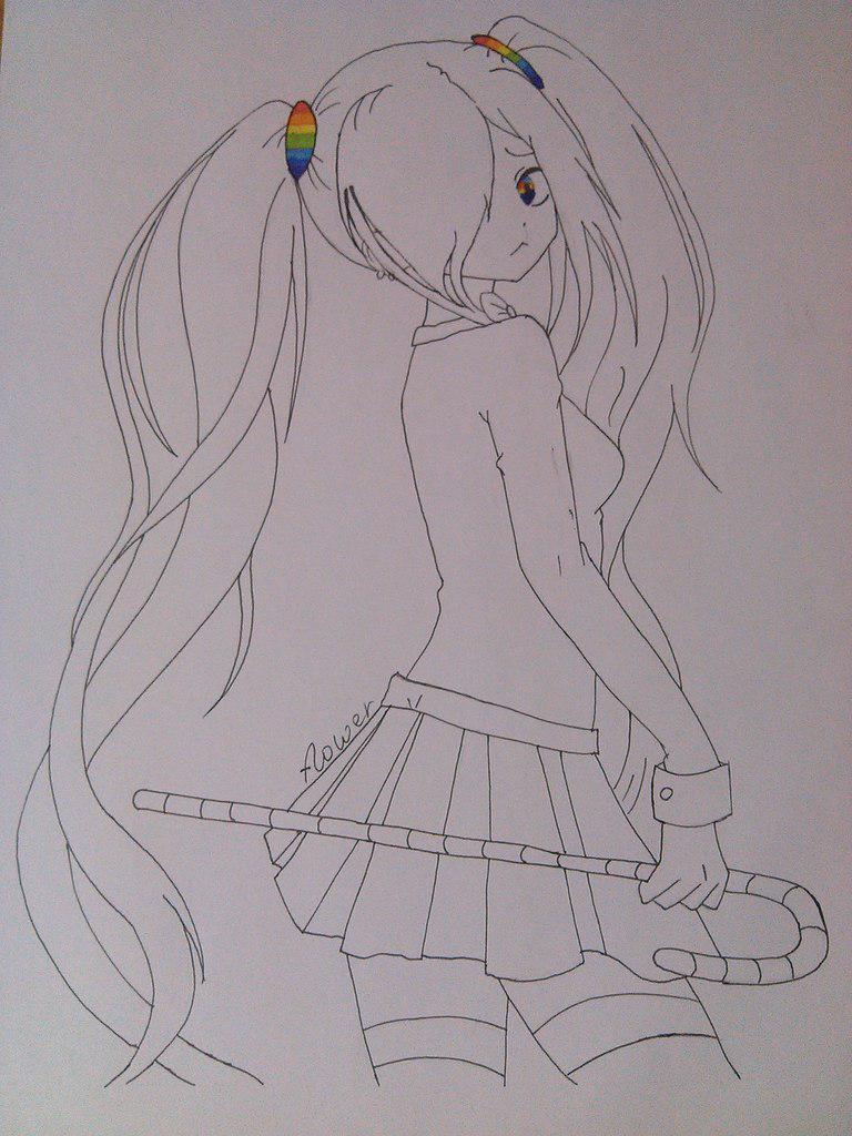 Рисуем аниме девушку с хвостиками цветными карандашами