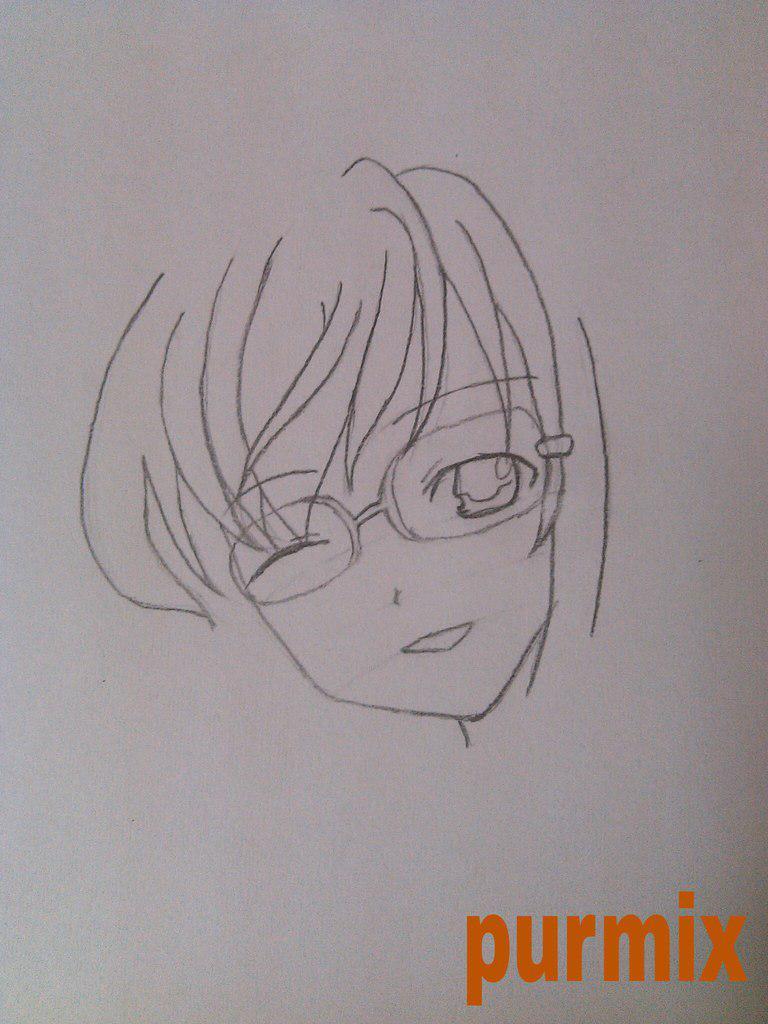 Как нарисовать аниме девушку с кошкой в руках поэтапно - шаг 2