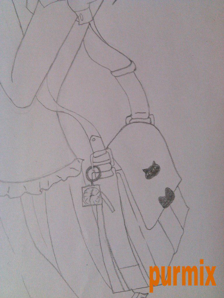 Как нарисовать аниме девушку с кошкой в руках поэтапно - шаг 6