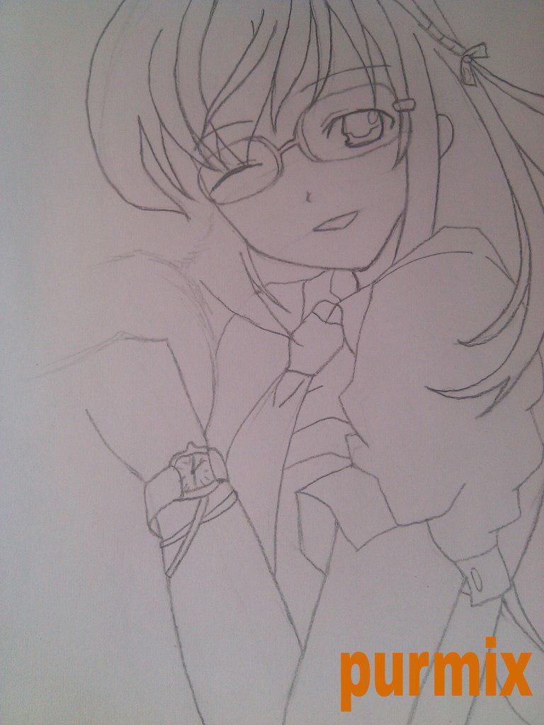 Как нарисовать аниме девушку с кошкой в руках поэтапно - шаг 7