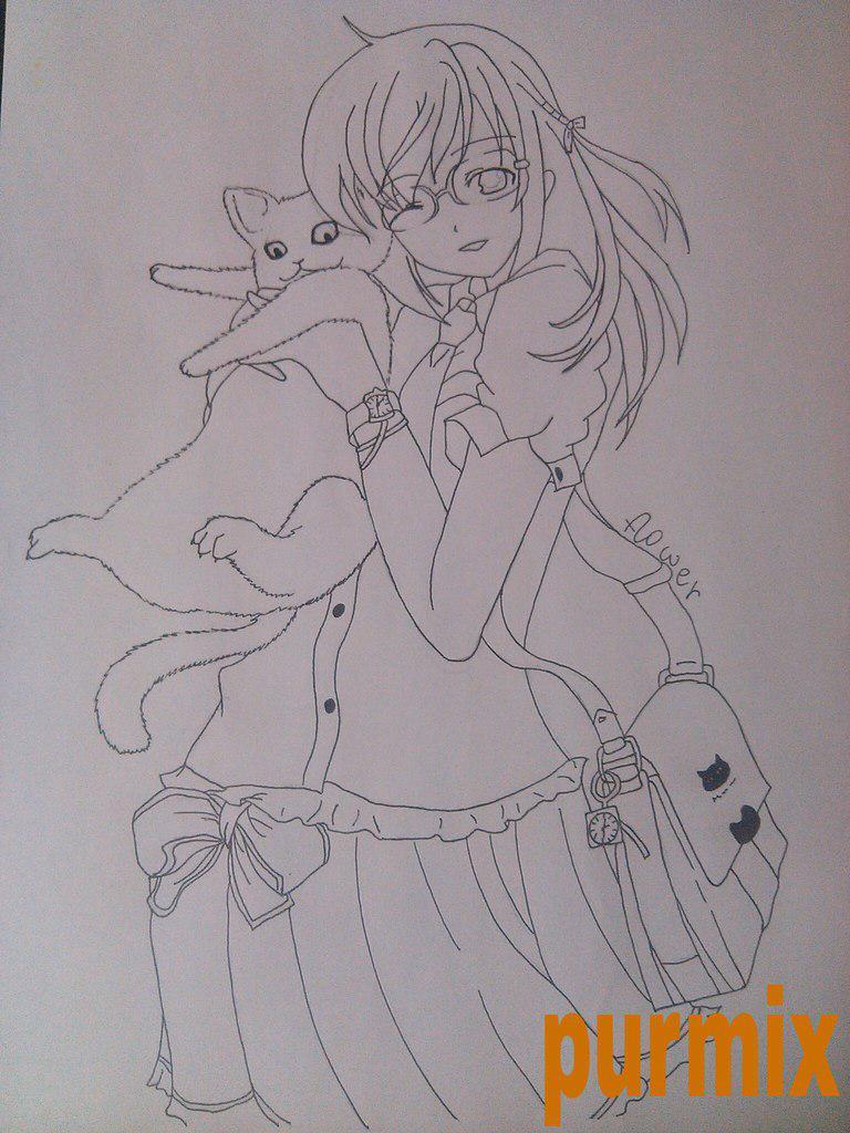 Как нарисовать аниме девушку с кошкой в руках поэтапно - шаг 9