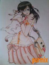 Рисунок аниме девушку с кошкой в руках