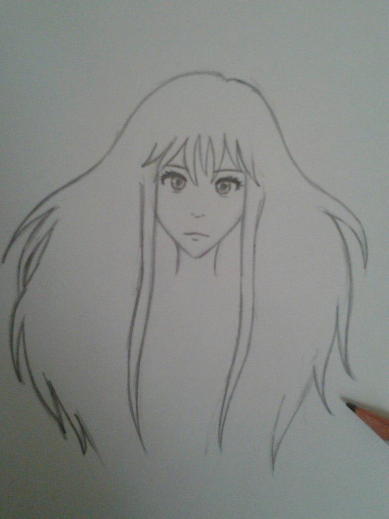 Как нарисовать аниме девушку с космическими волосами - шаг 4