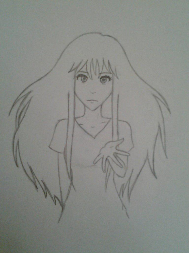 Как нарисовать аниме девушку с космическими волосами - шаг 5