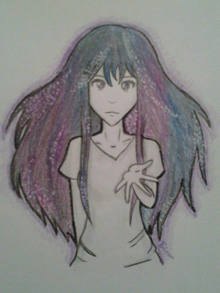 Как нарисовать аниме девушку с космическими волосами - шаг 6