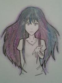 Фото аниме девушку с космическими волосами