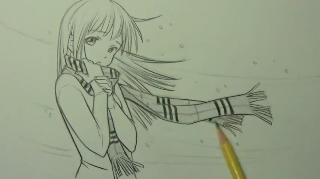 Как нарисовать аниме девушку с шарфом карандашом поэтапно