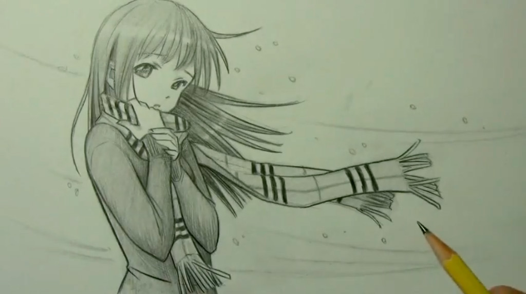 картинки карандашом девочки аниме