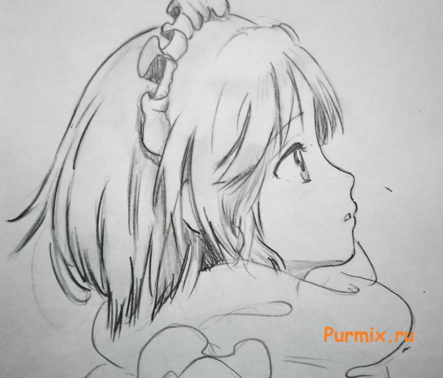 Как нарисовать аниме девушку смотрящую на падение лепестков Сакуры