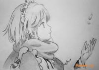 Рисунок аниме девушку смотрящую на падение лепестков Сакуры