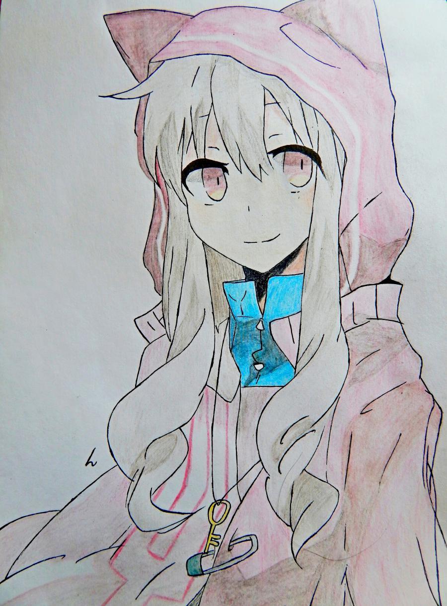 Как нарисовать аниме девушку в капюшоне с ушками поэтапно