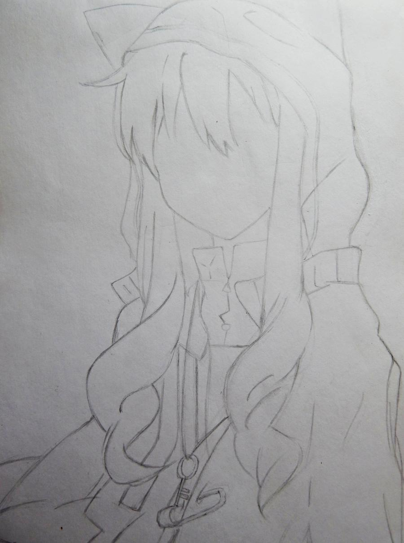 Рисуем аниме девушку в капюшоне с ушками - шаг 3