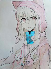 аниме девушку в капюшоне с ушками
