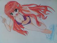 аниме девушку в купальнике карандашом