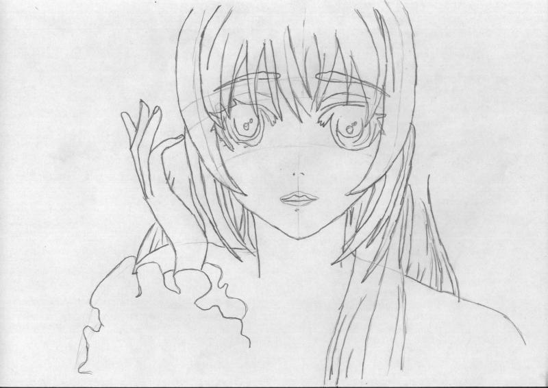 Рисуем портрет аниме девушки в наушниках - шаг 2