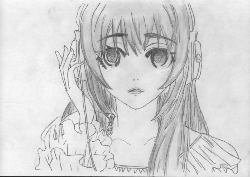 Рисуем портрет аниме девушки в наушниках - шаг 4