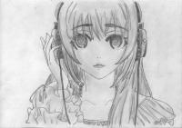 Фото аниме девушку в наушниках карандашом
