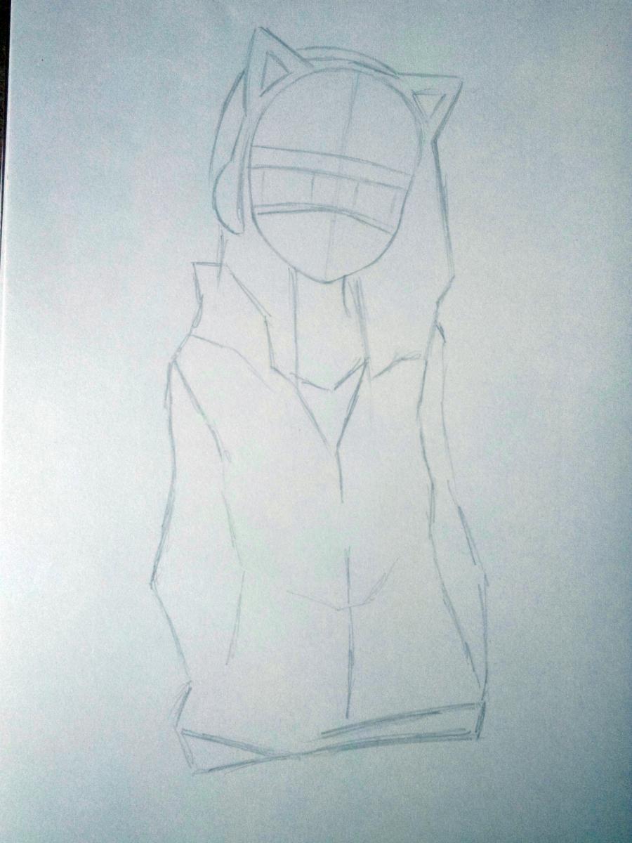 Рисуем аниме девушку в наушниках с кошачьими ушками в полный рост - шаг 3