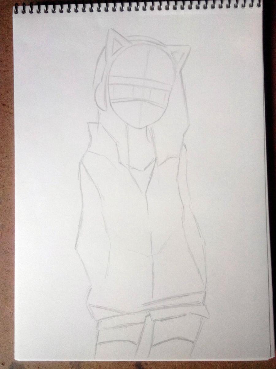 Рисуем аниме девушку в наушниках с кошачьими ушками в полный рост - шаг 4