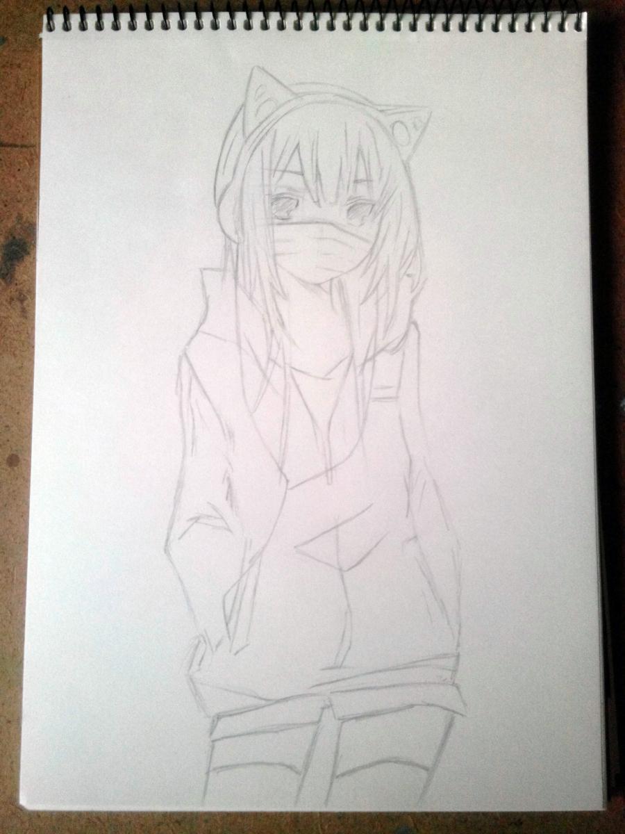 Рисуем аниме девушку в наушниках с кошачьими ушками в полный рост - шаг 6