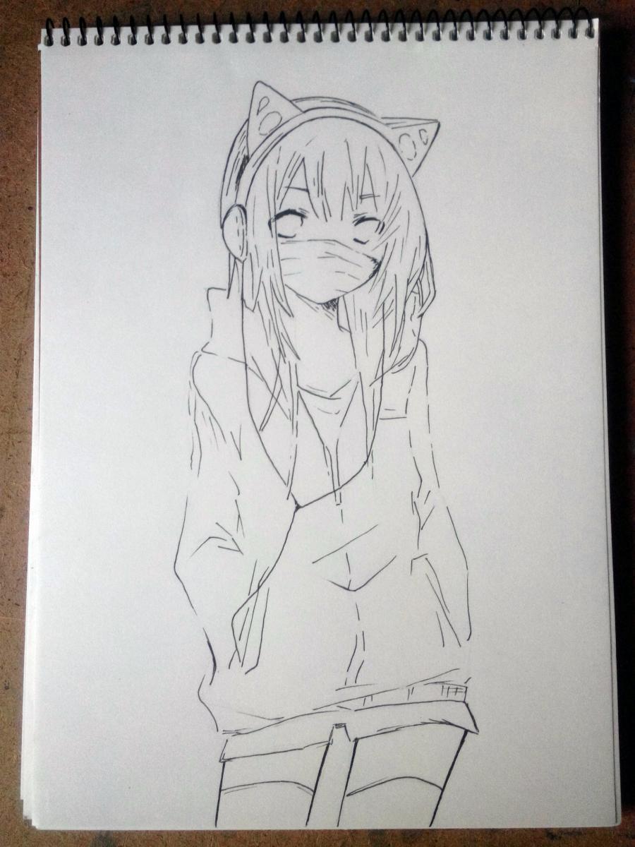 Рисуем аниме девушку в наушниках с кошачьими ушками в полный рост - шаг 7