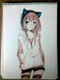 Рисунок аниме девушку в наушниках с кошачьими ушками