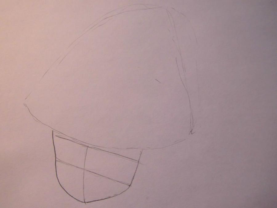 Рисуем аниме девушку в новогодней шапочке - шаг 1