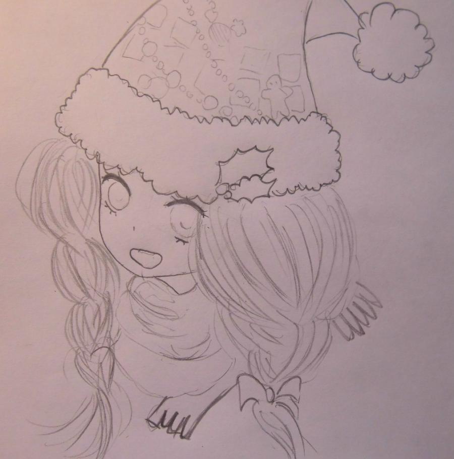Рисуем аниме девушку в новогодней шапочке - шаг 4