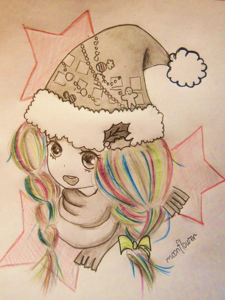 Рисуем аниме девушку в новогодней шапочке - шаг 8