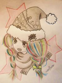 Фото аниме девушку в новогодней шапочке карандашом