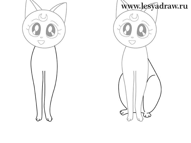Поэтапно аниме кот