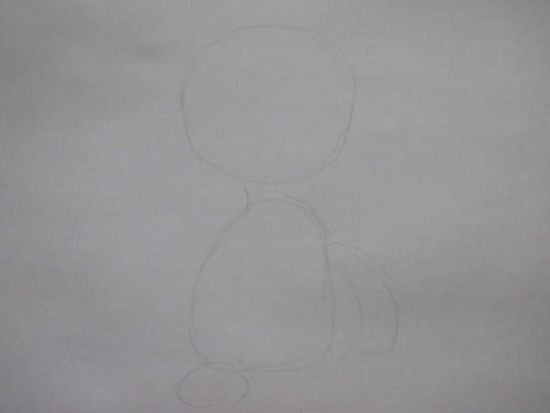 Рисуем аниме кошку - шаг 1