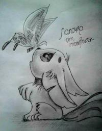 аниме лисёнок с бабочкой на носу карандашом