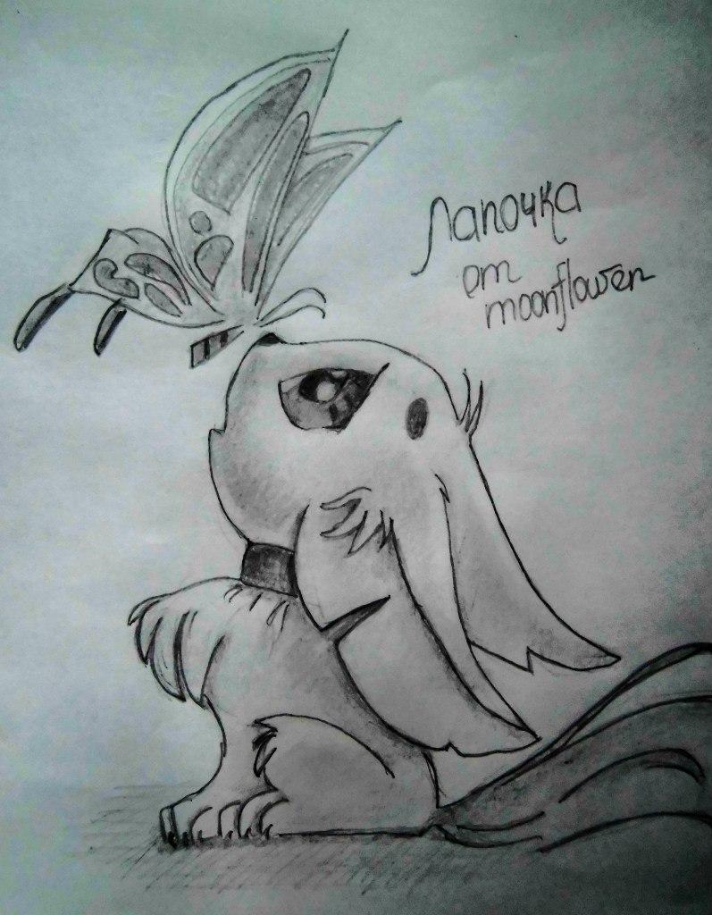 Рисуем аниме лисёнок с бабочкой на носу