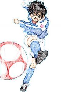 аниме мальчика с мячом на бумаге