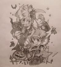 аниме на хэллоуин карандашом