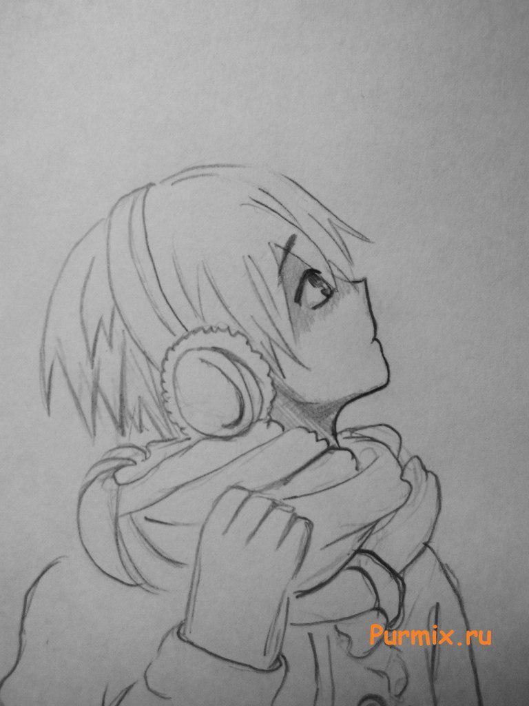 Рисуем аниме парня в зимней одежде шаг за шагом