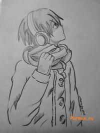 Рисунок аниме парня в зимней одежде шаг за шагом