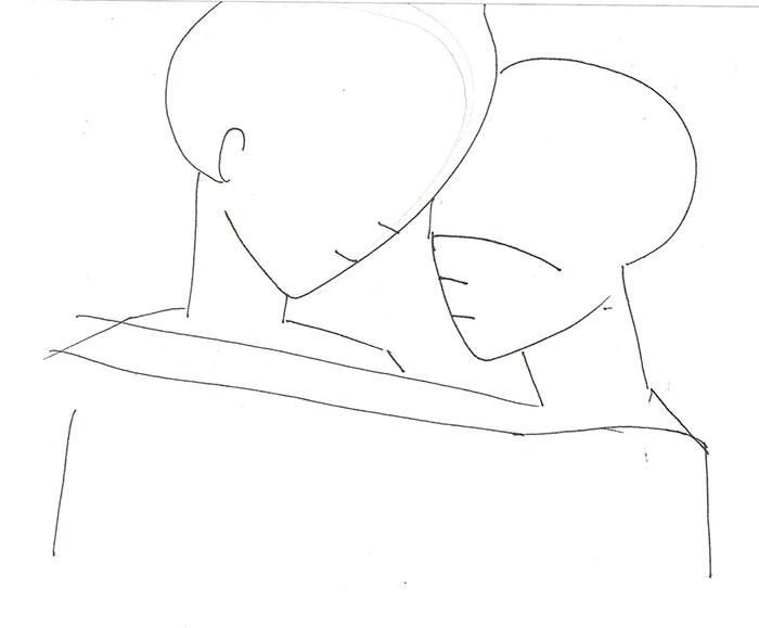 Рисуем влюбленную аниме пару - шаг 1