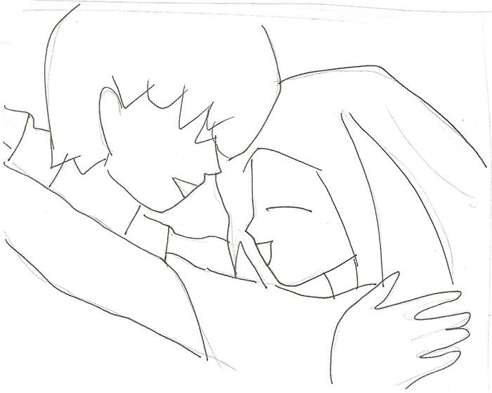 Рисуем влюбленную аниме пару - шаг 3