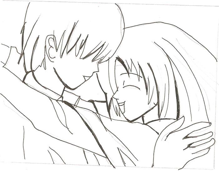 Рисуем влюбленную аниме пару - шаг 4