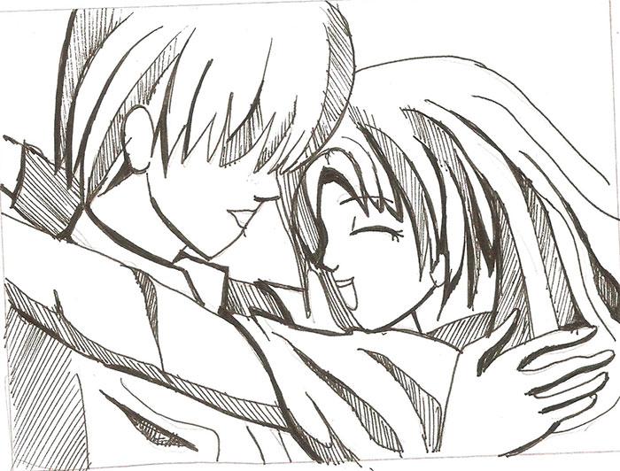 Рисуем влюбленную аниме пару - шаг 5