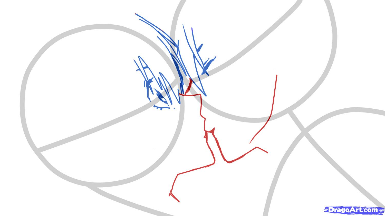 Рисуем аниме поцелуй для начинающих - шаг 3